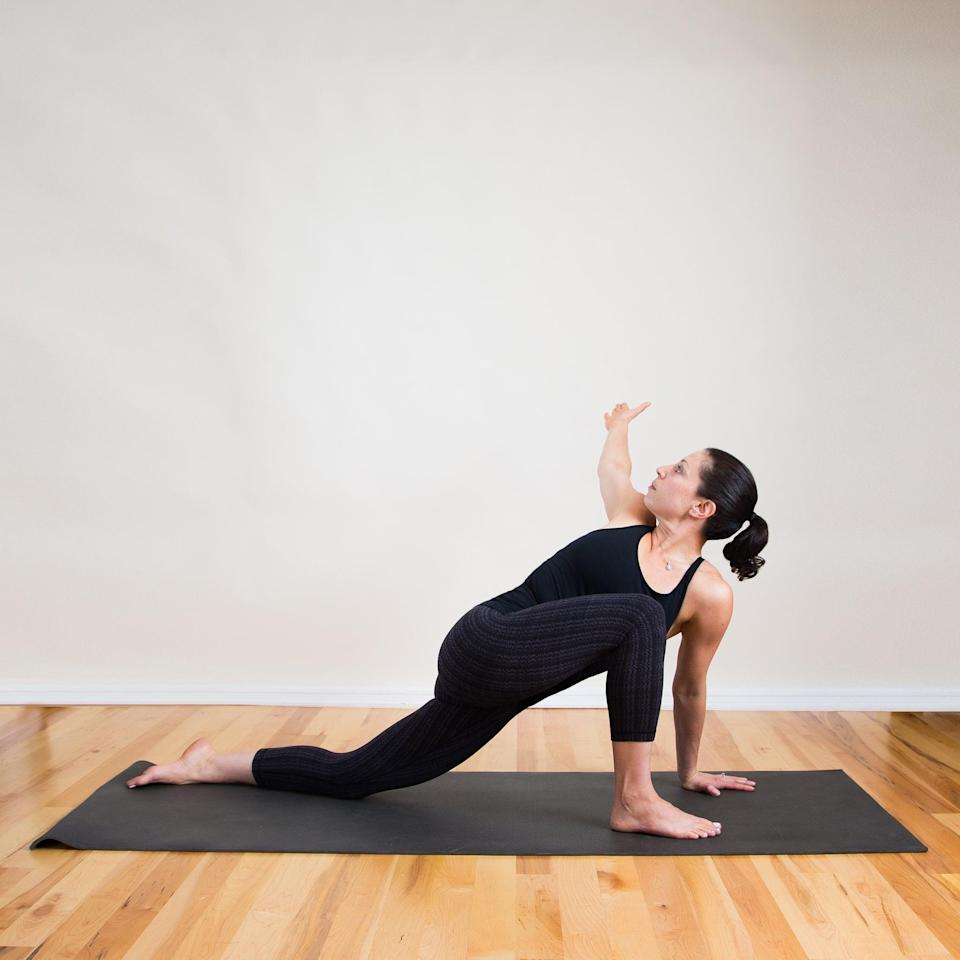 """<ul> <li>From a low lunge with the right knee bent, rest your left hand on the mat underneath your shoulder.</li> <li>Raise your right arm into the air and twist to the left, gazing behind you.</li> <li>Enjoy this pose for five breaths and then switch sides.</li> </ul> <p>Related: <a href=""""https://www.popsugar.com/fitness/Foods-Cause-Bloating-7367268?utm_medium=partner_feed&utm_source=smartnews&utm_campaign=related%20link"""" rel=""""nofollow noopener"""" target=""""_blank"""" data-ylk=""""slk:Bloated? These Foods May Be the Culprits"""" class=""""link rapid-noclick-resp"""">Bloated? These Foods May Be the Culprits</a></p>"""