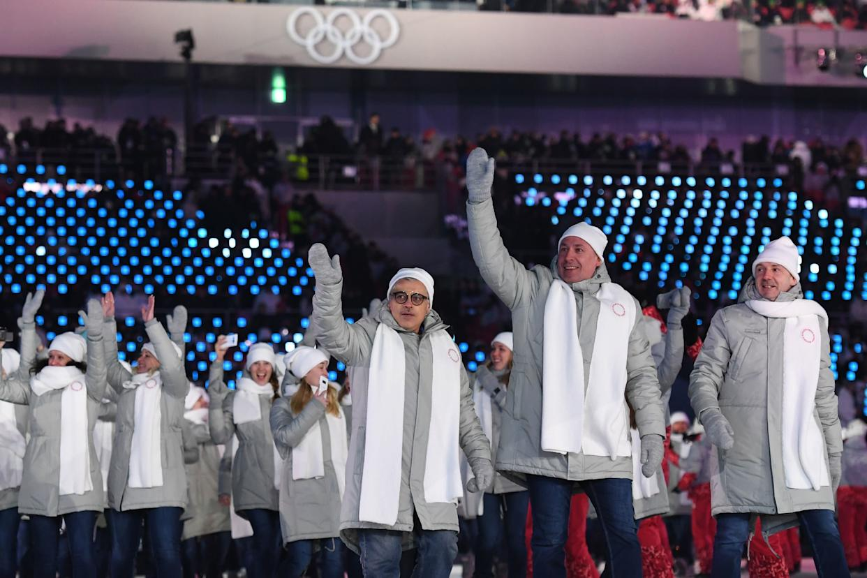 Olympic athletes from Russia's (OAR) parade during the opening ceremony. Banned from participating as representatives of Russia due to a doping scandal, they were required to wear neutral uniforms with no country designation.
