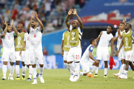 Panama's players greet their fans at the end of the group G match between Belgium and Panama at the 2018 soccer World Cup in the Fisht Stadium in Sochi, Russia, Monday, June 18, 2018. Belgium won 3-0. (AP Photo/Antonio Calanni)