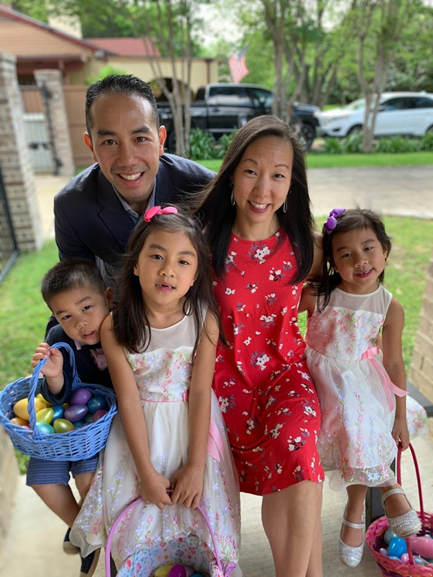 Jimmy J. Tran with his wife, Lisa, and their three children.