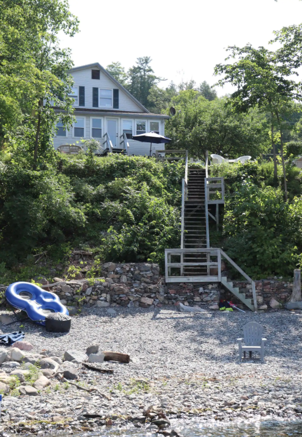 """<h2>Lake Champlain, Vermont<br></h2><br><strong>Location</strong>: Milton, Vermont<br><strong>Sleeps</strong>: 6<br><strong>Price Per Night</strong>: <a href=""""https://airbnb.pvxt.net/4eGZgo"""" rel=""""nofollow noopener"""" target=""""_blank"""" data-ylk=""""slk:$449"""" class=""""link rapid-noclick-resp"""">$449</a><br><br>""""Come stay at my home on Lake Champlain located in Milton, VT. The house is located on a quiet road with friendly neighbors, it has 2 bedrooms with 1.5 bathrooms and a daybed and sleeper sofa on the first floor. It's an all-season home with AC on the first and second floors as well as heating for the winter months. I have a private beach with a dock and kayaks for rental. It's the perfect escape for families or a romantic getaway- 25 minutes away from Burlington, hiking, breweries!""""<br><br><h3>Book <a href=""""https://airbnb.pvxt.net/4eGZgo"""" rel=""""nofollow noopener"""" target=""""_blank"""" data-ylk=""""slk:Vermont Lakehouse On Champlain"""" class=""""link rapid-noclick-resp"""">Vermont Lakehouse On Champlain</a><br></h3>"""