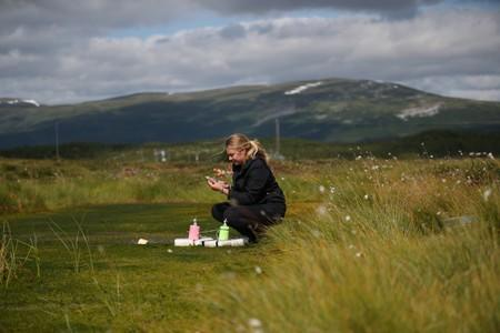Kathryn Bennett, a postgraduate student in earth sciences at the University of New Hampshire, extracts samples of methane from funnels placed in an area of marshland at a research post at Stordalen Mire near Abisko