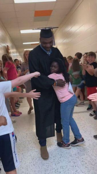 PHOTO: Derrick Harris was surprised with a graduation celebration on May 25. (Tracie Lane)