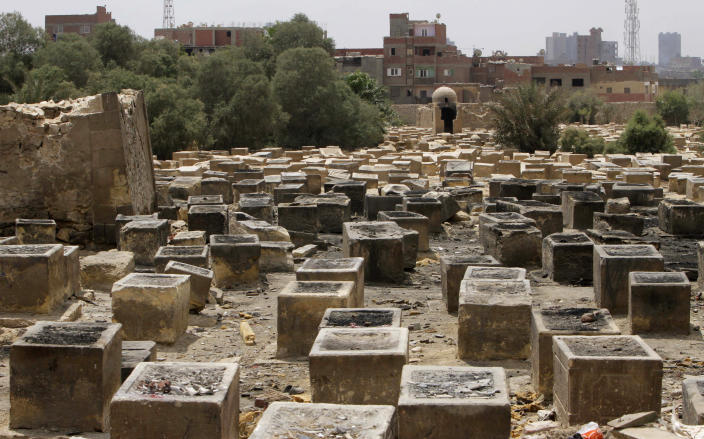 General view showing the Jewish cemetery, in Cairo, Egypt, Thursday, April 18, 2013. The leader of Egypt's dwindling and aging Jewish community, known for her tireless work preserving synagogues and a once-sprawling Jewish cemetery, died Saturday at the age of 82. Carmen Weinstein was buried Thursday in the Bassatine cemetery she herself worked to save since 1978. It is the only Jewish cemetery left in Cairo and is the largest in Egypt. The transformation of Bassatine mirrors the dramatic changes Egypt has undergone as its population skyrocketed and poverty grew. Parts of Bassatine were turned into a garbage dump, while another area was seized by antiquities' officials. Weinstein was able to preserve a small area as a Jewish cemetery.(AP Photo/Amr Nabil)