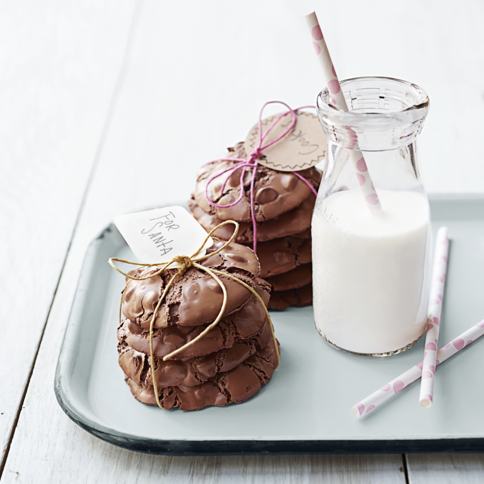 """<p>Crunchy on the outside and chewy on the inside, these simple cookies are deliciously gluten-free.</p><p><em><a href=""""https://www.goodhousekeeping.com/food-recipes/a15372/chocolate-volcano-cookies-gluten-free-recipe-ghk0514/"""" rel=""""nofollow noopener"""" target=""""_blank"""" data-ylk=""""slk:Get the recipe from Chocolate Volcano Cookies »"""" class=""""link rapid-noclick-resp"""">Get the recipe from Chocolate Volcano Cookies »</a></em></p><p><strong>RELATED: </strong><a href=""""https://www.goodhousekeeping.com/food-recipes/dessert/g376/gluten-free-dessert-recipes/"""" rel=""""nofollow noopener"""" target=""""_blank"""" data-ylk=""""slk:25 Gluten-Free Desserts That Will Be the Hit of Any Party"""" class=""""link rapid-noclick-resp"""">25 Gluten-Free Desserts That Will Be the Hit of Any Party</a></p>"""