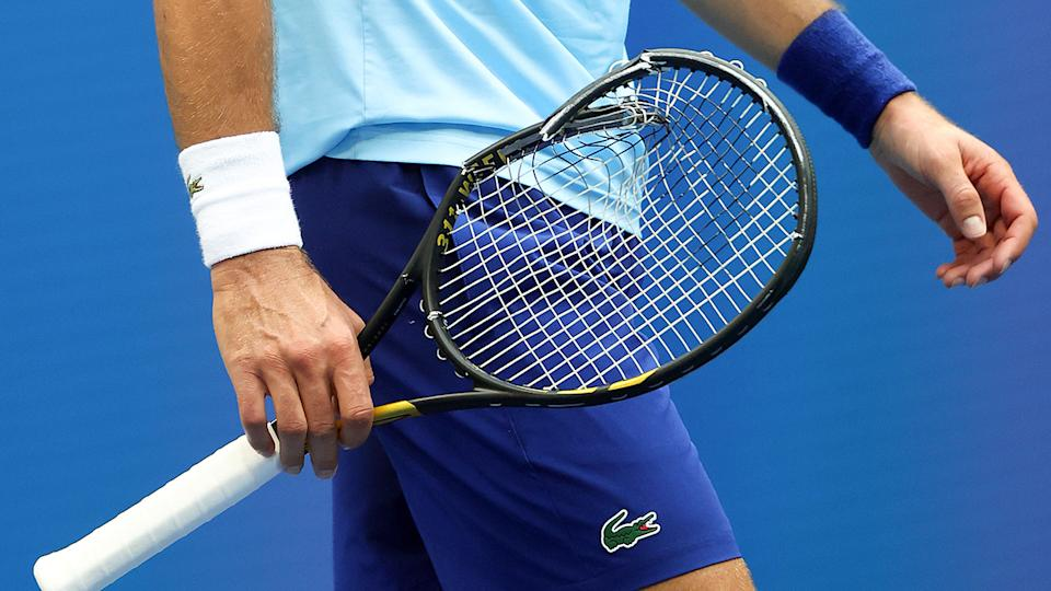 Novak Djokovic, pictured here after destroying his racquet in the US Open final.