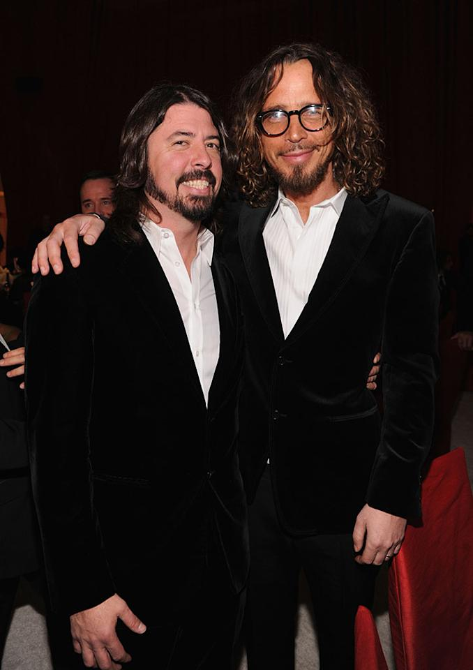 Dave Grohl and Chris Cornell attend the 21st Annual Elton John AIDS Foundation Academy Awards Viewing Party at Pacific Design Center on February 24, 2013 in West Hollywood, California.