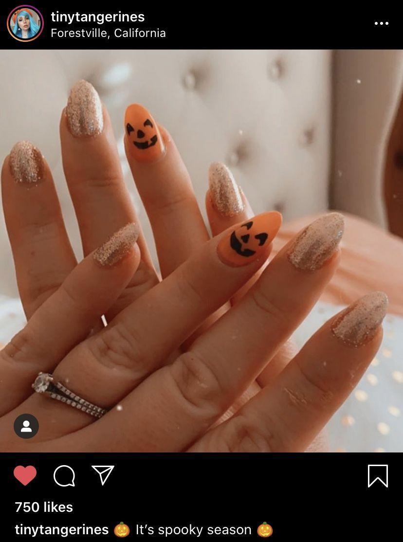 """<p>This cute and classic Halloween look <a href=""""https://www.instagram.com/tinytangerines/"""" rel=""""nofollow noopener"""" target=""""_blank"""" data-ylk=""""slk:by TinyTangerines"""" class=""""link rapid-noclick-resp"""">by TinyTangerines</a> is easily achievable at home with gold and orange nail polish, plus an accent nail decal.</p><p><a class=""""link rapid-noclick-resp"""" href=""""https://go.redirectingat.com?id=74968X1596630&url=https%3A%2F%2Fwww.etsy.com%2Flisting%2F645789765%2Fpumpkin-faces-nail-art-decals&sref=https%3A%2F%2Fwww.oprahdaily.com%2Fbeauty%2Fskin-makeup%2Fg33239588%2Fhalloween-nail-ideas%2F"""" rel=""""nofollow noopener"""" target=""""_blank"""" data-ylk=""""slk:SHOP PUMPKIN DECAL"""">SHOP PUMPKIN DECAL</a></p>"""