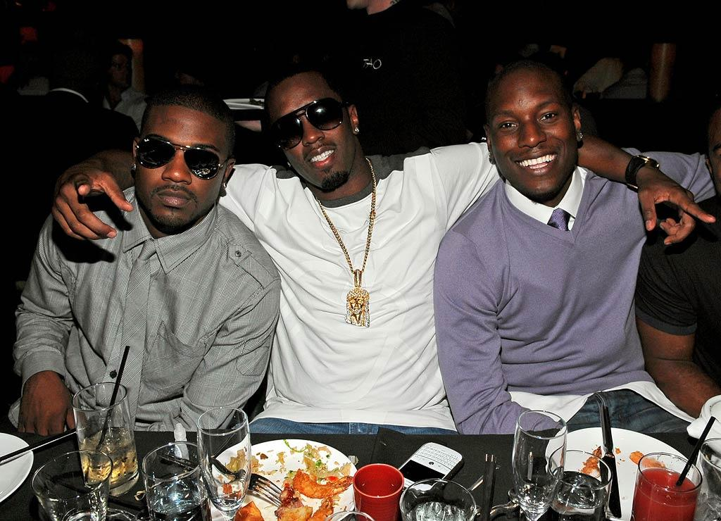 "Ray J, Sean ""Diddy"" Combs, and Tyrese posed for a picture after chowing down at the anniversary party for Tao nightclub, located in Las Vegas' Venetian Resort Hotel Casino. Jamie McCarthy/<a href=""http://www.wireimage.com"" target=""new"">WireImage.com</a> - October 3, 2009"