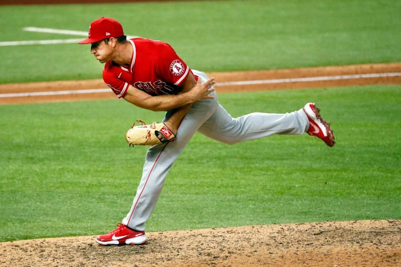 Jacob Barnes pitching with Angels