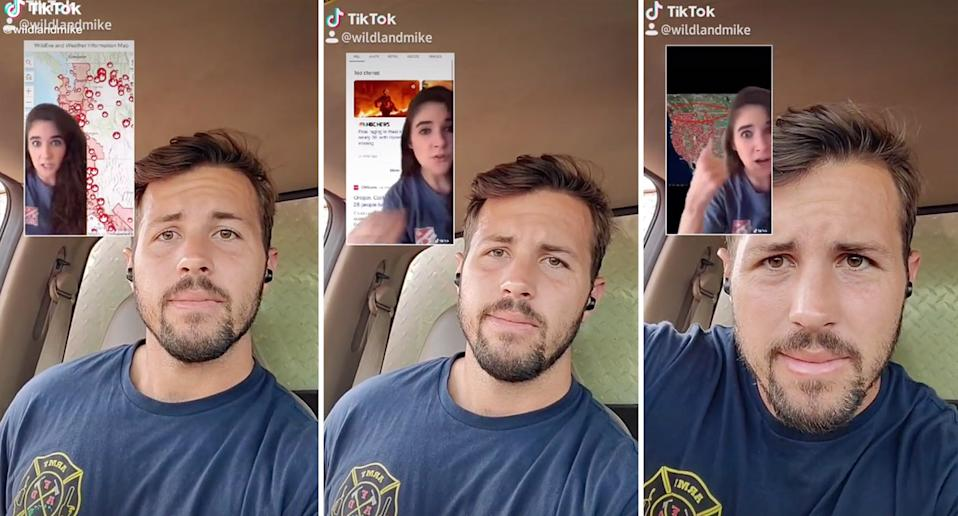 TikTok user @wildlandmike, or Michael, has debunked a conspiracy theory people are using to say the US wildfires are 'planned'. Source: TikTok/wildlandmike