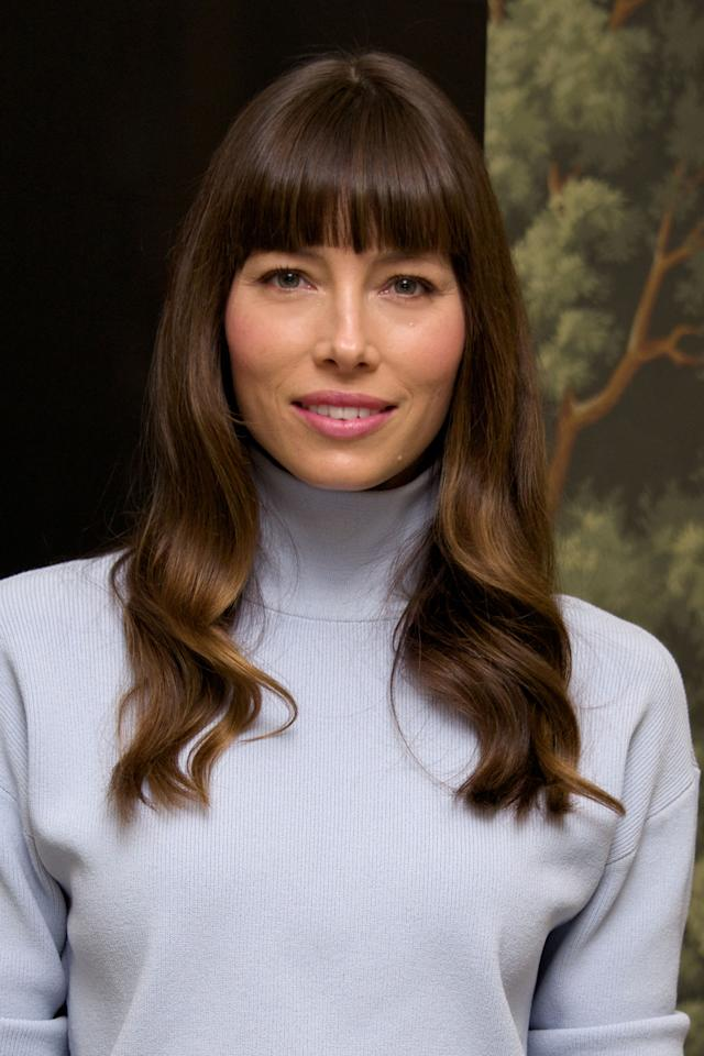 """<p>Bangs will really help balance out long face shapes, and Jessica Biel is proof. """"My favorite style for bangs is wearing them straight across. You can add some slightly longer pieces on the sides hitting your cheekbones for some softness,"""" says <a rel=""""nofollow"""" href=""""https://www.instagram.com/m.y_style/"""">Mary Yalda</a>, stylist at <a rel=""""nofollow"""" href=""""http://foxandjanesalon.com/"""">Fox & Jane</a> in New York City.</p>"""