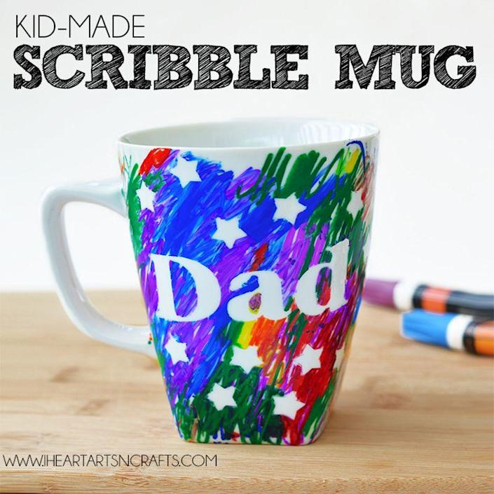 """<p>Make Dad's morning coffee a little bit better with a colorful cup. Every time he looks at the hand-drawn designs, he'll think of you. </p><p><em>Get the tutorial at <a href=""""https://www.iheartartsncrafts.com/fathers-day-sharpie-mug-kids-craft/?crlt.pid=camp.Y4xuhhBzsQbZ"""" rel=""""nofollow noopener"""" target=""""_blank"""" data-ylk=""""slk:I Heart Arts N Crafts"""" class=""""link rapid-noclick-resp"""">I Heart Arts N Crafts</a>.</em></p>"""