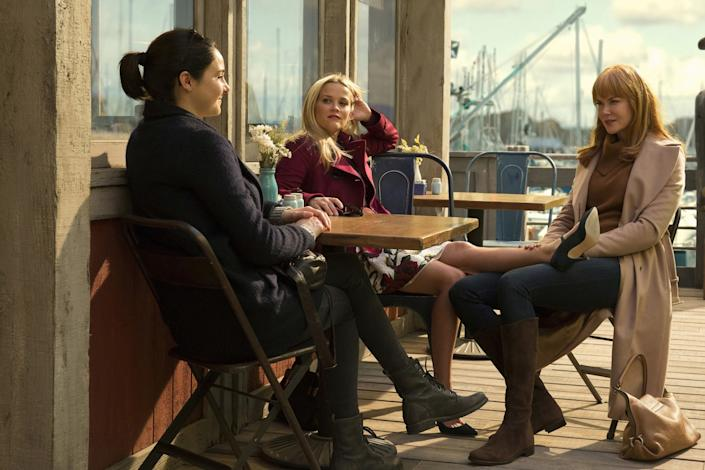 """Golden Globe nominees Shailene Woodley, left, Reese Witherspoon and Nicole Kidman of """"Big Little Lies."""""""