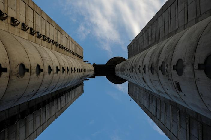 Genex Tower, also known as the Western City gate, stands in Belgrade, Serbia. The building consists of two soaring pillars, connected by an aerial bridge. The tower is one of the most significant examples of brutalism, an architectural style popular in the 1950s and 1960s, based on crude, block-like forms cast from concrete. (Photo: Marko Djurica/Reuters)