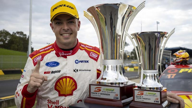 Champion Scott McLaughlin has won the opening sprint at the Supercars' resumption in Sydney