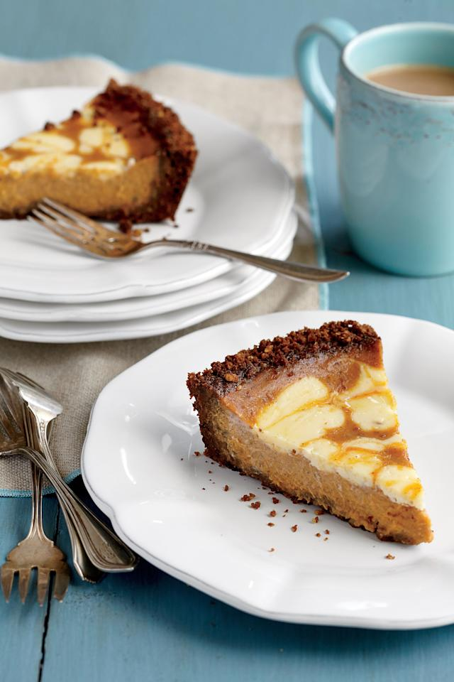 """<p>Nothing says cool weather comfort like pumpkin and gingersnap. Silky cream cheese gives this pie its fun swirl design.</p> <ul><li><strong>Recipe:</strong> <a href=""""http://www.myrecipes.com/recipe/pumpkin-swirl-pie"""" target=""""_blank"""">Pumpkin Swirl Pie with Gingersnap Crust</a></li> </ul>"""