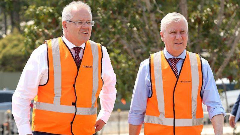 Prime Minister Scott Morrison (L) has announced $3.8 billion in national infrastructure projects