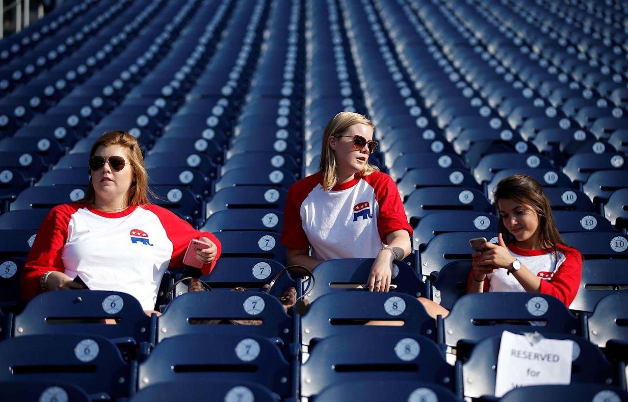 <p>Republican supporters wait for the Democrats and Republicans to face off in the annual Congressional Baseball Game at Nationals Park in Washington, June 15, 2017. (Photo: Joshua Roberts/Reuters) </p>