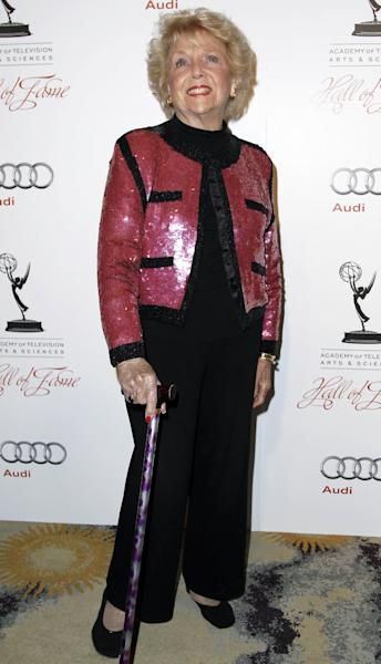 "FILE - This March 1, 2012 file photo shows actress Doris Singleton arriving at the Academy of Television Arts and Sciences 21st Annual Hall of Fame Gala in Beverly Hills, Calif. Singleton, who played Lucy and Ricky Ricardo's neighbor on ""I Love Lucy,"" died Tuesday June 26, 2012. She was 92. (AP Photo/Matt Sayles, file)"