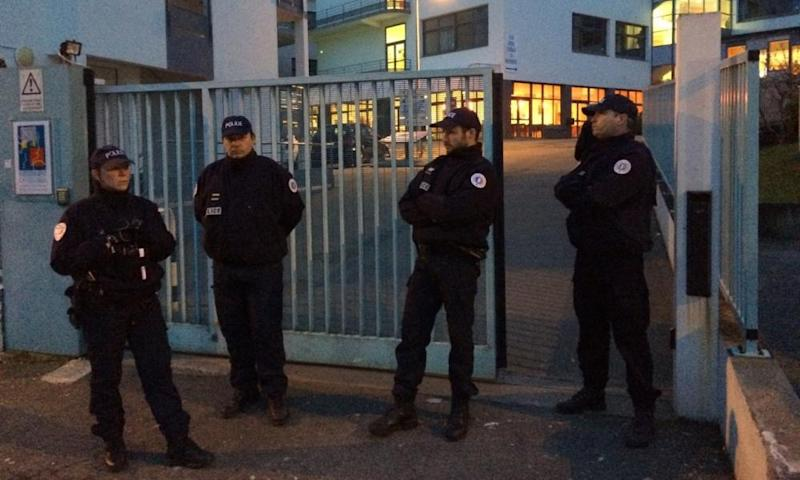 French police outside Lycée Saint-Joseph, in Brittany, on Wednesday.