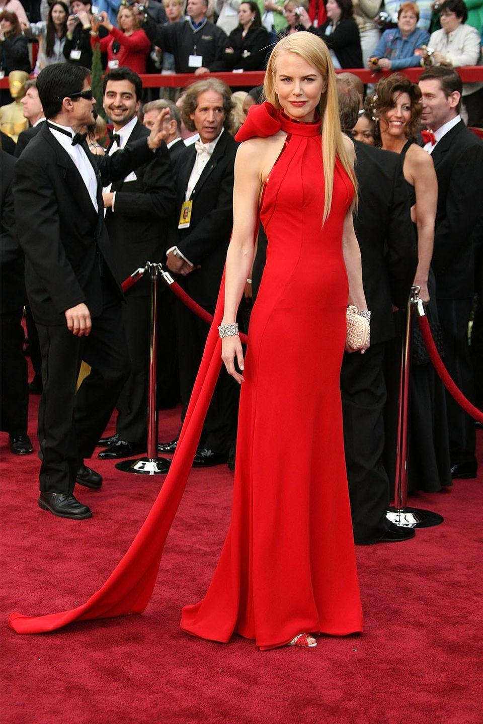 """<p>Nicole Kidman's Balenciaga gown was the style equivalent to """"business in the front, party in the back"""" with the exquisite bow draping from her neck into a train behind her. </p>"""