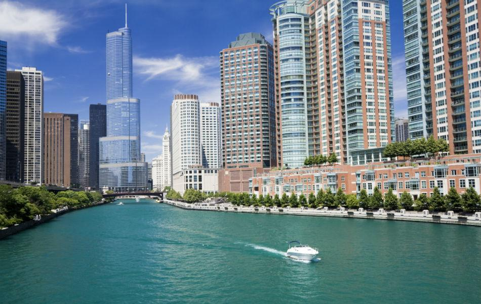The Trump International Hotel & Tower in Chicago was built in 2009. It is 415m high, and has 98 floors.