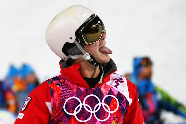 SOCHI, RUSSIA - FEBRUARY 10: Marc-Antoine Gagnon of Canada reacts in the Men's Moguls Finals on day three of the Sochi 2014 Winter Olympics at Rosa Khutor Extreme Park on February 10, 2014 in Sochi, Russia. (Photo by Cameron Spencer/Getty Images)
