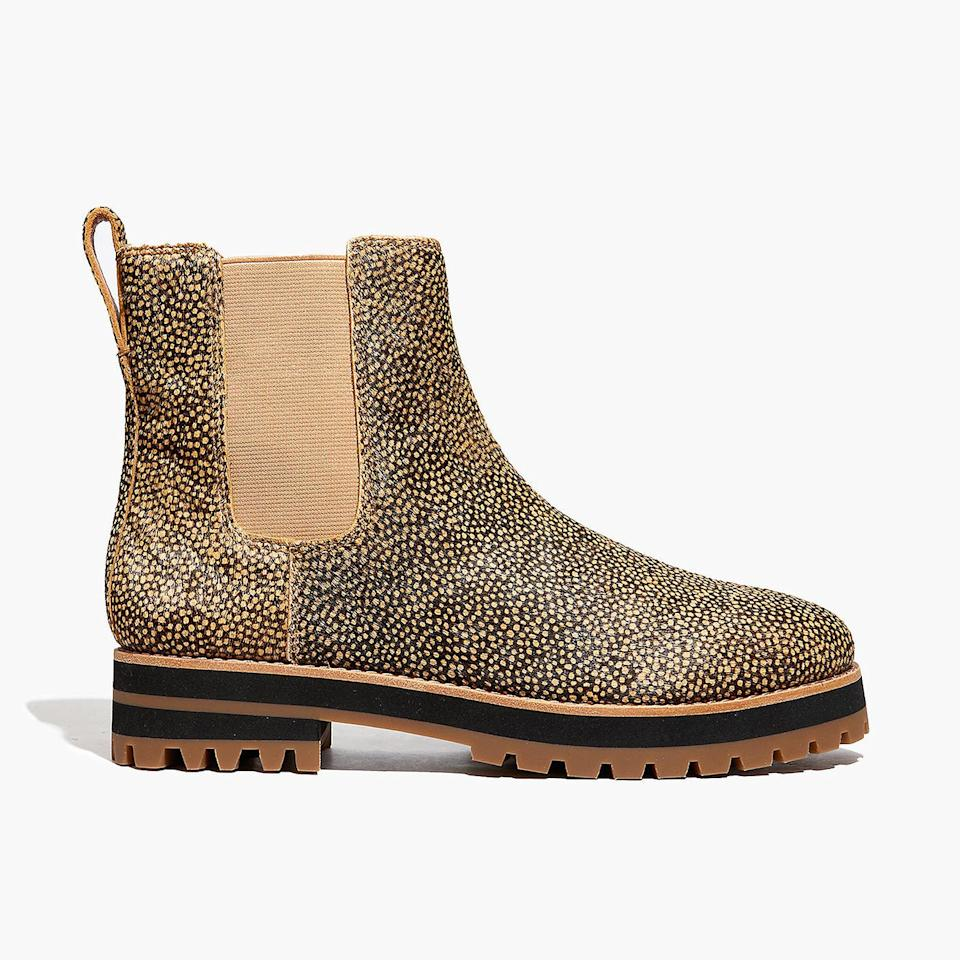 """<p><strong>Buy It!</strong> <a href=""""https://www.madewell.com/the-ivy-chelsea-boot-in-mini-dot-calf-hair-MA427.html?dwvar_MA427_color=EB6636&cgid=shoes-boots#gridtype=four-up&start=31"""" rel=""""nofollow noopener"""" target=""""_blank"""" data-ylk=""""slk:&quot;Ivy&quot; Boot, $210; madewell.com"""" class=""""link rapid-noclick-resp"""">""""Ivy"""" Boot, $210; madewell.com</a></p>"""