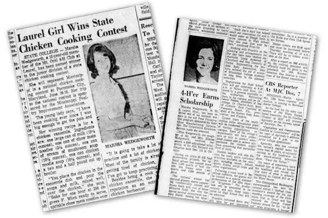 Newspaper clippings from the 1960s featuring Marsha Wedgworth (now Blackburn) from the Clarion-Ledger.