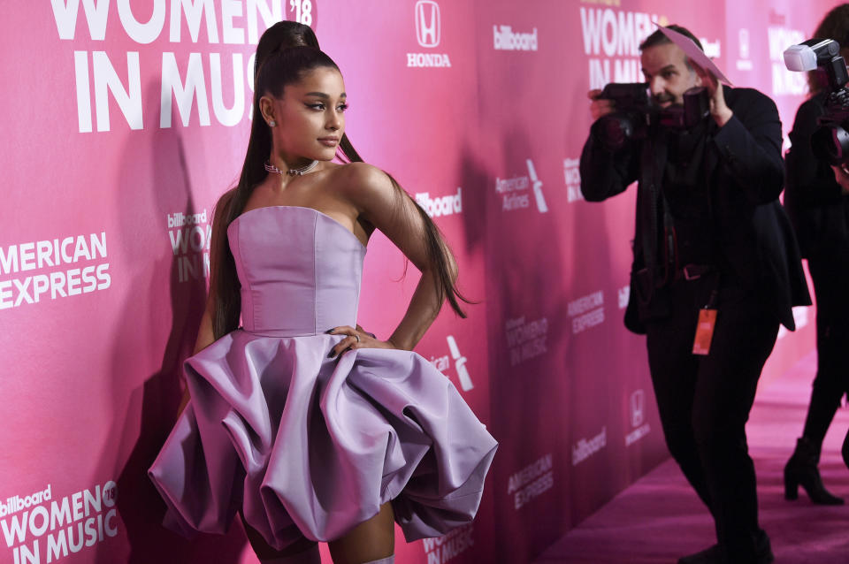 Woman of the year honoree Ariana Grande attends the 13th annual Billboard Women in Music event at Pier 36 on Thursday, Dec. 6, 2018, in New York. (Photo by Evan Agostini/Invision/AP)