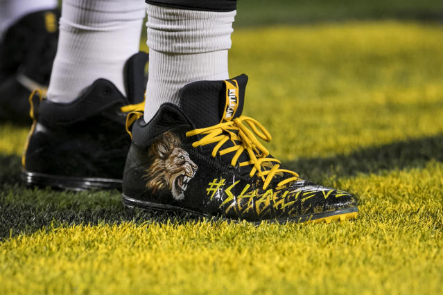 <p>A custom pair of cleats honoring teammate Ryan Shazier during the game between the Baltimore Ravens and the Pittsburgh Steelers on December 10, 2017 at Heinz Field in Pittsburgh, Pa. (Photo by Mark Alberti/ Icon Sportswire) </p>