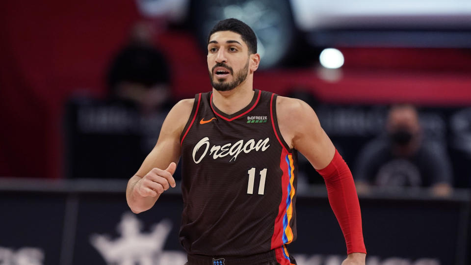 Portland Trail Blazers center Enes Kanter plays during the second half of an NBA basketball game, Wednesday, March 31, 2021, in Detroit. (AP Photo/Carlos Osorio)
