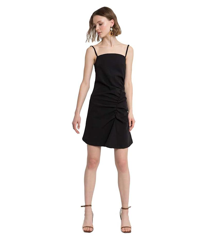 Ruched little black dress.