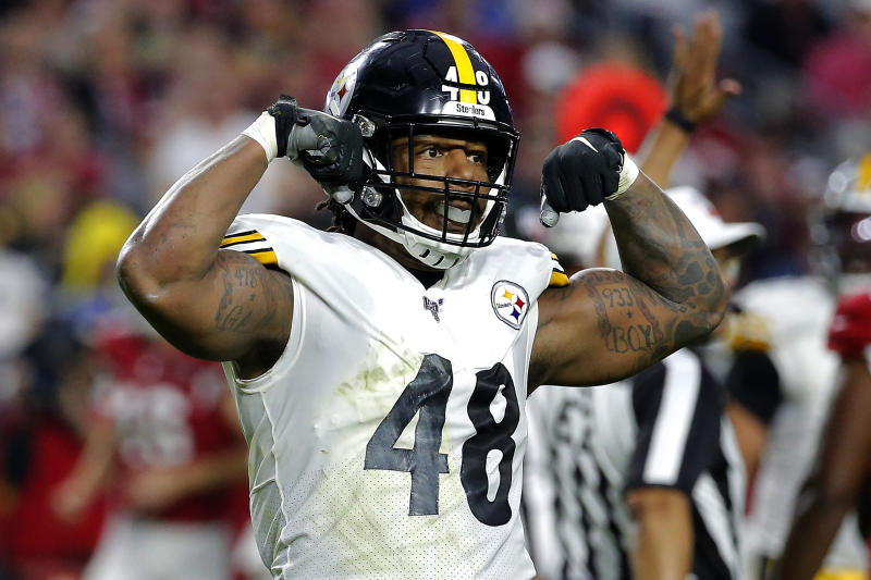 Pittsburgh Steelers outside linebacker Bud Dupree (48) celebrates a tackle against the Arizona Cardinals during the first half of an NFL football game, Sunday, Dec. 8, 2019, in Glendale, Ariz. (AP Photo/Rick Scuteri)