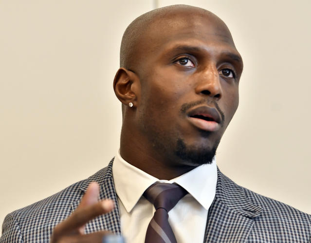 New England Patriots' Devin McCourty, speaks during a session to discuss criminal justice issues with other current and former NFL football players at Harvard Law School, Friday, March 23, 2018, in Cambridge, Mass. (AP Photo/Josh Reynolds)