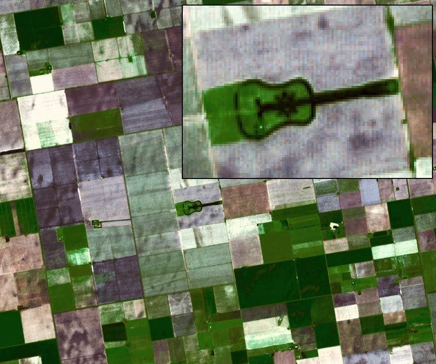 Located in the fertile agricultural region of Argentina's Pampas is a guitar-shaped forest made up of cypress and eucalyptus trees. An Argentinian farmer planted the forest in memory of his departed wife.