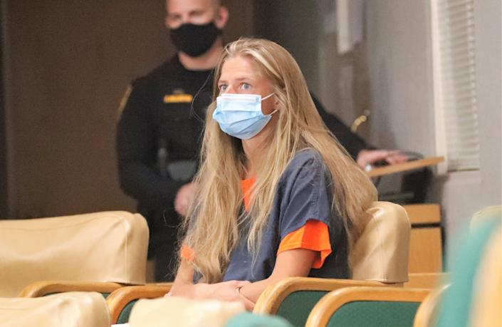 Arson suspect Alexandra Souverneva appears in Shasta County Superior Court on Friday afternoon, Sept. 24, 2021.