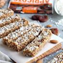 """<p>This decadent <a href=""""http://therealfoodrds.com/apricot-almond-coconut-energy-bars/"""" rel=""""nofollow noopener"""" target=""""_blank"""" data-ylk=""""slk:fruit and nut energy bar"""" class=""""link rapid-noclick-resp"""">fruit and nut energy bar</a> recipe comes from Jessica Beacom, R, and Stacie Hassing, RD, nutritionists who serve up loads of gluten-free, paleo- and Whole30-friendly recipes on their website, <a href=""""http://therealfoodrds.com/"""" rel=""""nofollow noopener"""" target=""""_blank"""" data-ylk=""""slk:the Real Food Dietitians"""" class=""""link rapid-noclick-resp"""">the Real Food Dietitians</a>. This recipe features almonds, almond butter, coconut shreds, <a href=""""https://www.womenshealthmag.com/food/a19953063/chia-seed-danger/"""" rel=""""nofollow noopener"""" target=""""_blank"""" data-ylk=""""slk:chia seeds"""" class=""""link rapid-noclick-resp"""">chia seeds</a>, vanilla extract, cinnamon, and nutmeg. """"They're easy to make and perfect for fueling intense activities, plus they stash perfectly in your purse or desk drawer for emergencies like a missed lunch,"""" says Beacom. Just be sure to check the label and skip dried fruit without added sugars or sulfates.</p><p><a href=""""https://www.instagram.com/p/BVp6q9FlyaW/?utm_source=ig_embed&utm_campaign=loading"""" rel=""""nofollow noopener"""" target=""""_blank"""" data-ylk=""""slk:See the original post on Instagram"""" class=""""link rapid-noclick-resp"""">See the original post on Instagram</a></p>"""