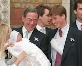 <p>Prince Constantine Alexios of Greece and Denmark was born on 29 October 1998. He is the eldest son of Crown Prince Pavlos and Crown Princess Marie-Chantal of Greece.</p><p>Constantine was christened in a Greek Orthodox ceremony at St Sophia's Cathedral in London on 15 April 1999. </p><p>As you probably tell from the picture, this was certainly a ceremony to remember as godfather Prince William (only 16 at the time) was wearing his arm in a sling after breaking his finger during a rugby match.<br></p>