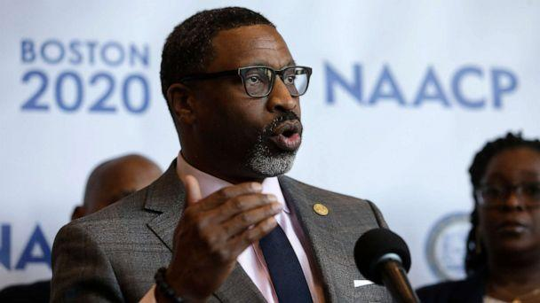 PHOTO: NAACP President Derrick Johnson faces reporters during a news conference in Boston, Dec. 12, 2019. (Steven Senne/AP, FILE)