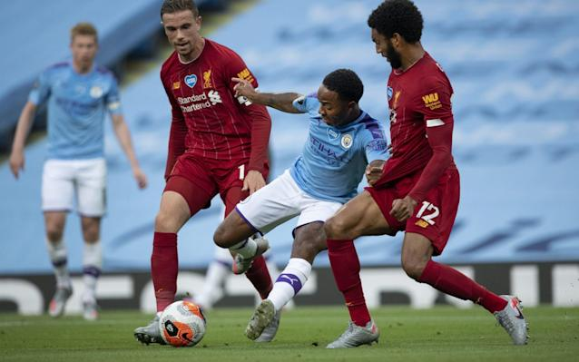 Raheem Sterling in action against Liverpool - GETTY IMAGES