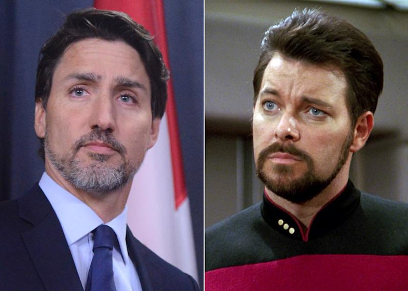 Composite image of Justin Trudeau and Jonathan Frakes as William Riker in Star Trek: The Next Generation (The Canadian Press/CBS via Getty Images)
