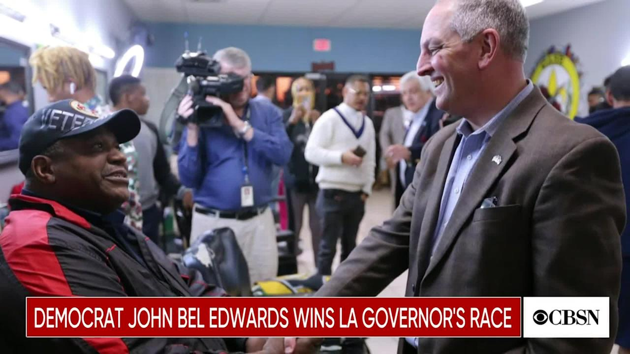 Democratic Louisiana Governor John Bel Edwards secured his re-election on Saturday night. Edwards defeated Republican challenger Eddie Rispone.
