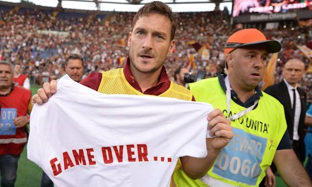 """<span class=""""element-image__caption"""">Roma legend Francesco Totti is calling it a day.</span> <span class=""""element-image__credit"""">Photograph: Filippo Monteforte/AFP/Getty Images</span>"""