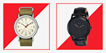 """<p>When you're budgeting for a new timepiece from <a href=""""https://www.menshealth.com/style/g33807469/best-watch-brands-for-men/"""" rel=""""nofollow noopener"""" target=""""_blank"""" data-ylk=""""slk:the best watch brands,"""" class=""""link rapid-noclick-resp"""">the best watch brands,</a> even those on the more affordable end of the spectrum can set you back a couple hundred dollars. But a watch doesn't always have to be an investment piece; in fact, some of the best cheap watches for men are super stylish <em>and </em>built to last. Whether you're looking for a sleek, modern timepiece for more formal occasions, or just want to upgrade your everyday leather wristwatch, there's no need to shell out your entire paycheck. We can do you one better: We scoured Amazon for the best inexpensive watches on the market, including <a href=""""https://www.menshealth.com/style/g34776563/best-timex-watches/"""" rel=""""nofollow noopener"""" target=""""_blank"""" data-ylk=""""slk:the best watches from Timex"""" class=""""link rapid-noclick-resp"""">the best watches from Timex</a>, Seiko, and more of our favorites, all for under $100. </p><p>Between waterproof options you can take with you to the beach, built-in chronograph capabilities, and scratch-resistant crystal faces, you won't have to give up your favorite features, either. The secret lies in picking the right brands. We love the versatility of Timex, the Scandi minimalism of Danish label Skagen, and the innovative simplicity of Casio—though those are only a few of the best affordable watch brands to look out for. Keep reading to shop the rest; these 25 picks look way more expensive than they actually are. <br></p>"""
