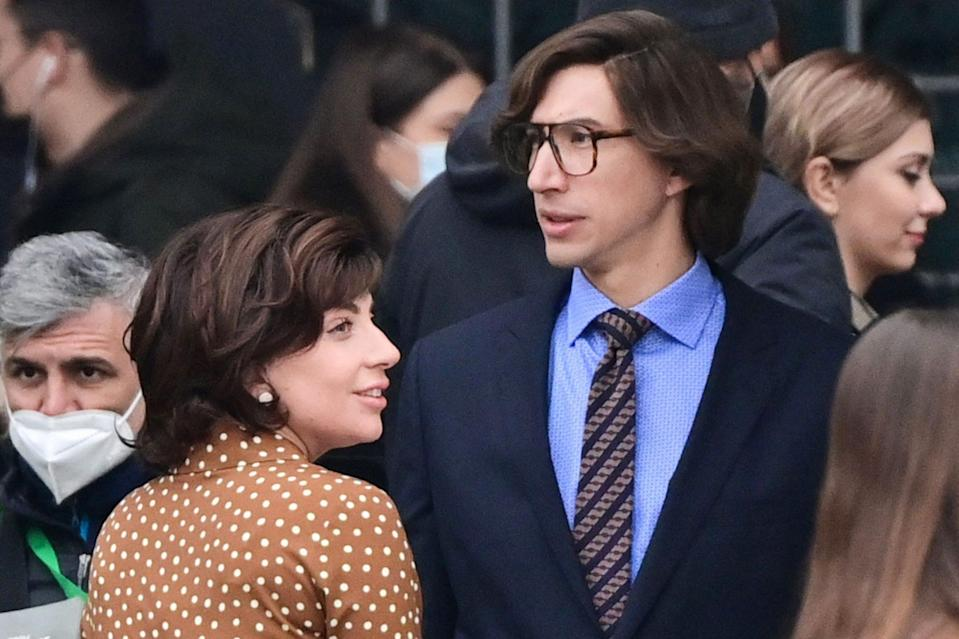 <p>Costars Lady Gaga and Adam Driver are seen in character shooting <em>House of Gucci</em> on Thursday in central Milan.</p>