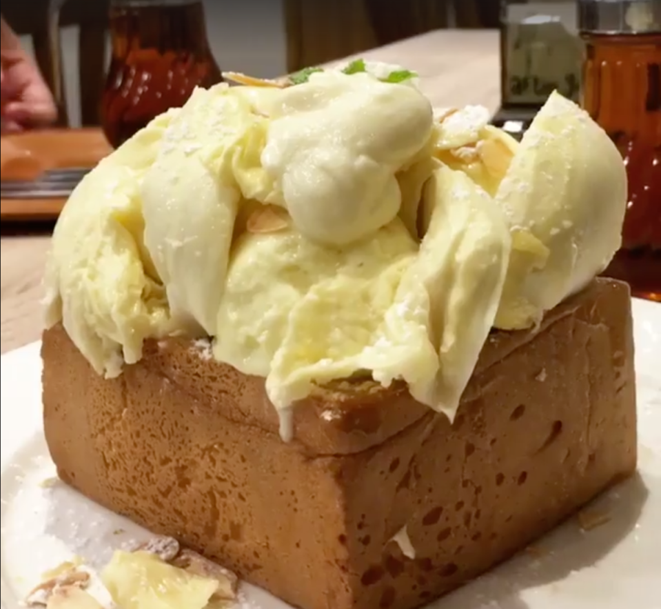 After You's durian sticky rice toast. (Screengrab of video from After You/Facebook)