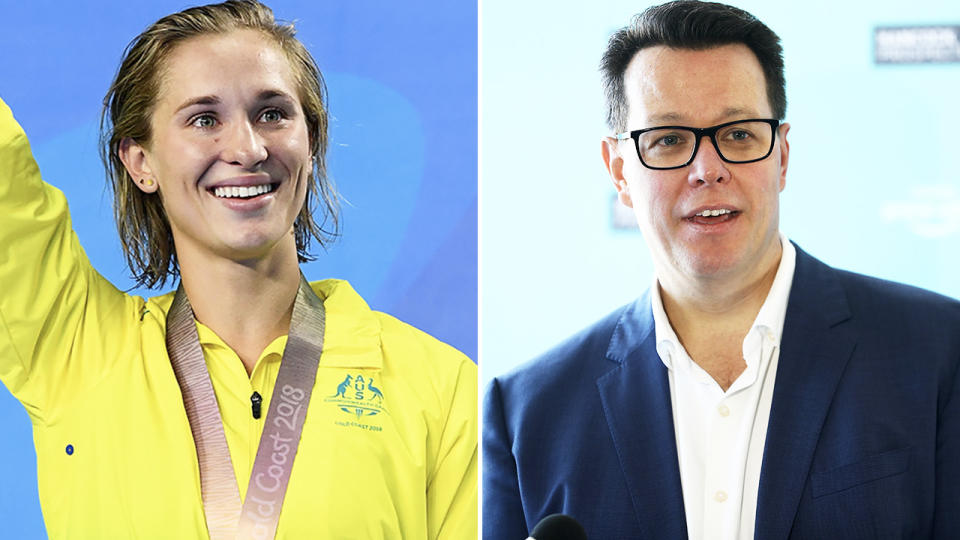 Maddie Groves and Kieren Perkins, pictured here in their roles for Swimming Australia.
