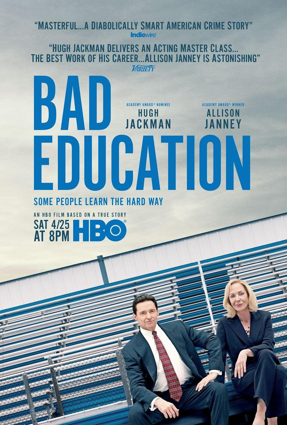 """<p><em><a href=""""http://www.womenshealthmag.com/life/a32227292/bad-education-hbo-frank-tassone-true-story/"""" rel=""""nofollow noopener"""" target=""""_blank"""" data-ylk=""""slk:Bad Education"""" class=""""link rapid-noclick-resp"""">Bad Education</a></em> tells the wild true story of the largest public school embezzlement scandal in American history, which brought down a superstar superintendent, played by Hugh Jackman, and his complicit assistant, played by Allison Janney.</p><p><a class=""""link rapid-noclick-resp"""" href=""""https://go.redirectingat.com?id=74968X1596630&url=https%3A%2F%2Fwww.hulu.com%2Fmovie%2Fbad-education-2718f707-01ba-49a8-a689-a3ede02b9a1d%3Fentity_id%3D2718f707-01ba-49a8-a689-a3ede02b9a1d&sref=https%3A%2F%2Fwww.womenshealthmag.com%2Flife%2Fg27486022%2Fbest-movies-based-on-true-stories%2F"""" rel=""""nofollow noopener"""" target=""""_blank"""" data-ylk=""""slk:Watch Here"""">Watch Here</a></p>"""
